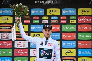 Belgian Ilan Van Wilder of Team DSM celebrates on the podium in the white jersey for best young rider after the second stage of the 73rd edition of the Criterium du Dauphine cycling race 173 km between Brioude and Saugues France Monday 31 May 2021 BELGA PHOTO DAVID STOCKMAN Photo by DAVID STOCKMANBELGA MAGAFP via Getty Images