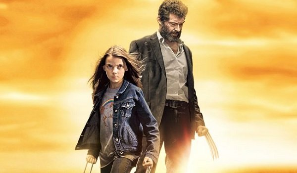 Logan Dafne Keen Hugh Jackman Wolverine and Laura with claws popped in the sunset