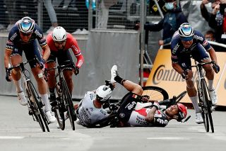 Caleb Ewan and Peter Sagan were involved in one of many crashes on stage 3 of the Tour de France