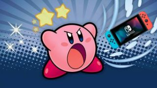 Kirby inhaling a Nintendo Switch