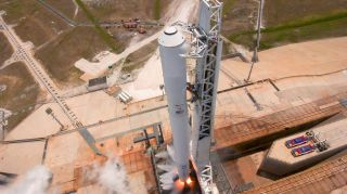 The SpaceX Falcon 9 rocket that will launch the Inmarsat 5-F4 communications satellite is test fired at Pad 39A of NASA's Kennedy Space Center in Cape Canaveral, Florida ahead of its May 15, 2017 launch.