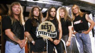 Iron Maiden's Dave Murray, Steve Harris, Blaze Bayley, Janick Gers, Nicko McBrain at Harris' home