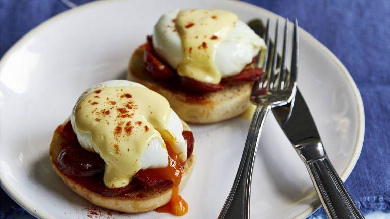 Chorizo eggs benedict with homemade english muffins