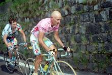 The epic stage 19 from Cavalese to Monte Campione in the Giro. Pavel Tonkov hangs on.