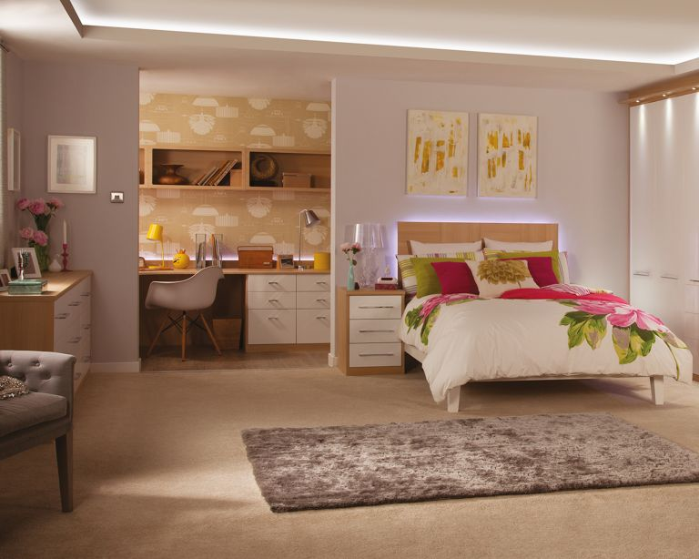 Sharps Cosmopolitan Oak And White Gloss Bedroom with home office ideas at rear