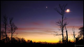 Astrophotographer Jeffrey Berkes of West Chester, Pa., snapped this stunning view of planet Venus and the crescent moon during a bright conjunction on Dec. 26, 2011.
