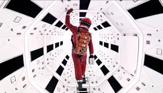 Aboard the space station of 2001: A Space Odyssey.