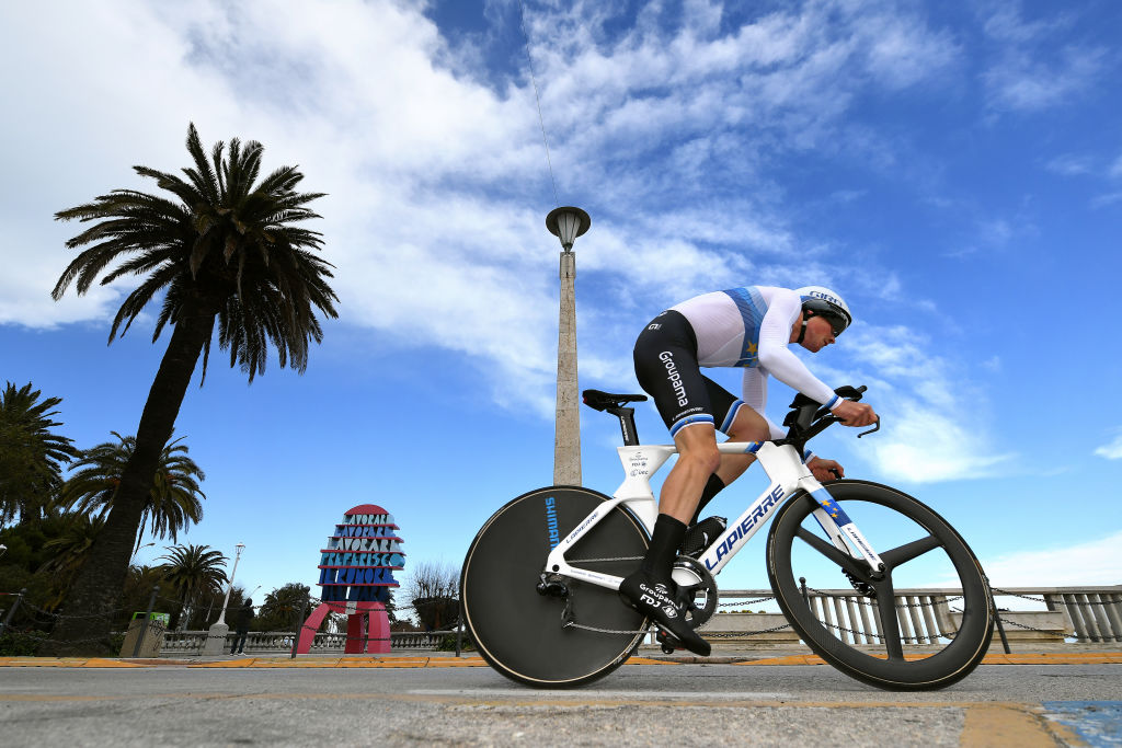 SAN BENEDETTO DEL TRONTO ITALY MARCH 16 Stefan Kung of Switzerland and Team Groupama FDJ during the 56th TirrenoAdriatico 2021 Stage 7 a 101km Individual Time Trial stage from San Benedetto del Tronto to San Benedetto del Tronto ITT TirrenoAdriatico on March 16 2021 in San Benedetto del Tronto Italy Photo by Tim de WaeleGetty Images