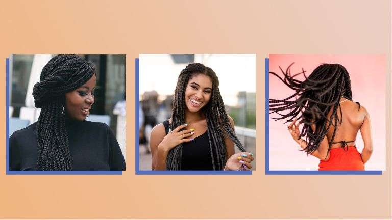 collage of braided hairstyles for women