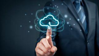 main pointing at a virtual cloud