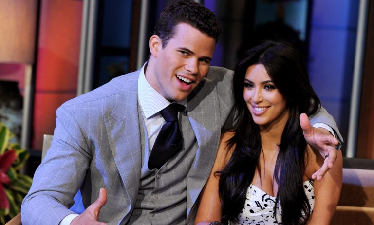 NBA player Kris Humphries (L) and his wife reality TV personality Kim Kardashian appear on the Tonight Show With Jay Leno