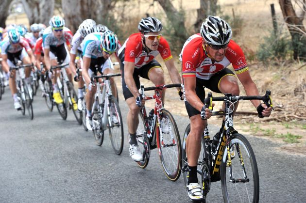 Lance Armstrong at the front, Tour Down Under 2011, stage four