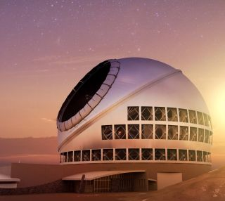 An artist's depiction of the Thirty Meter Telescope (TMT).