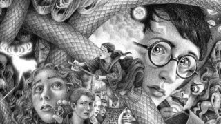 Black and white illustration montage of various Harry Potter characters