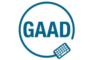 GAAD logo blue circle with keyboard