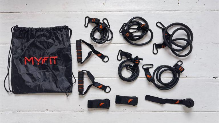 The MyFit Resistance Bands Set comprises 10 pieces