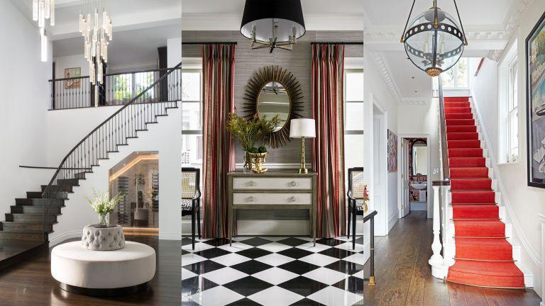 A composite of hallway lighting ideas