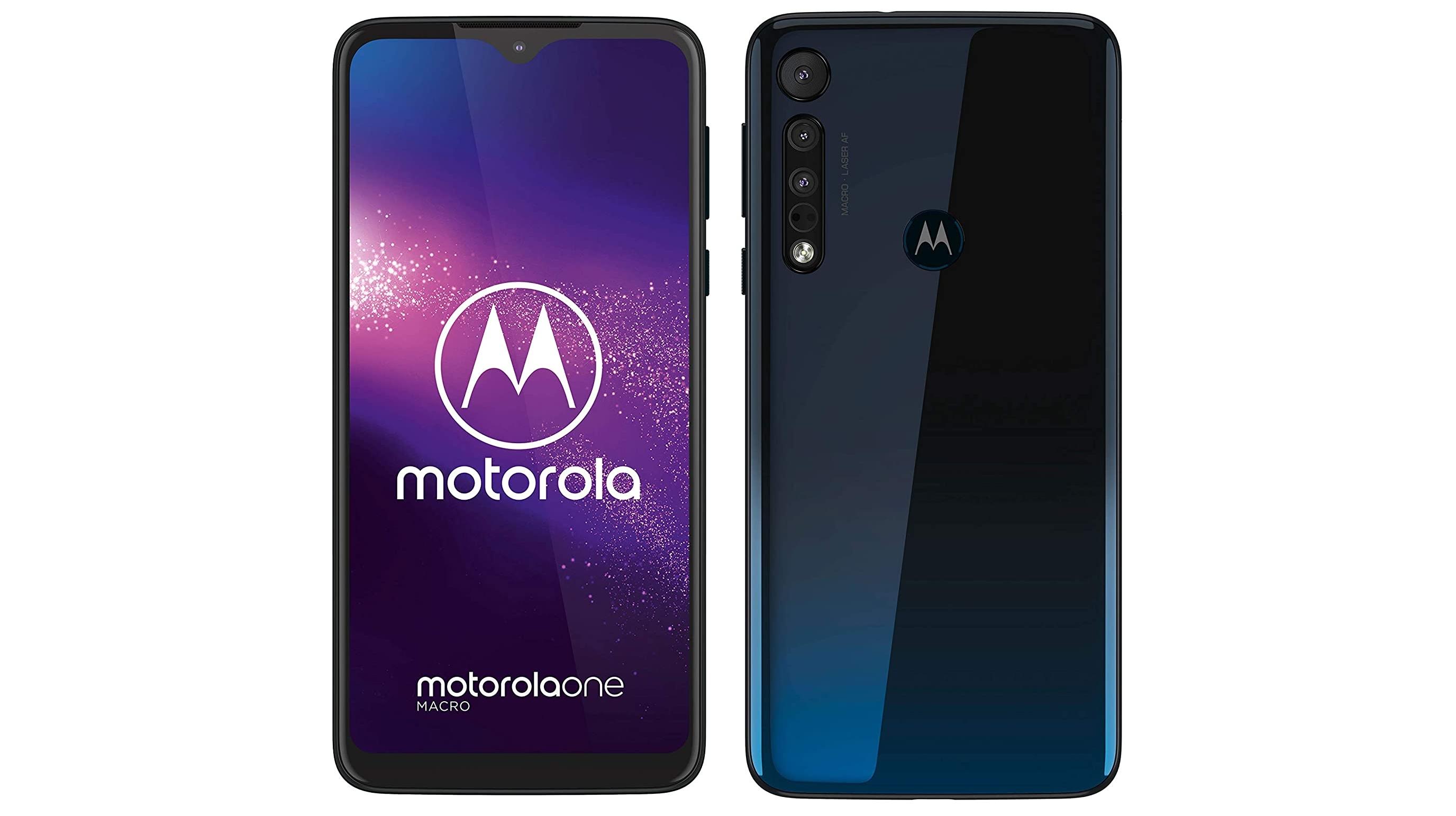 A Motorola One Macro against a white background