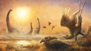 An illustration shows the late Cretaceous bird Falcatakely forsterae flying in ancient Madagascar not too far from sauropod dinosaurs.