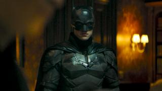 Robert Pattinson in the batsuit in 'The Batman'