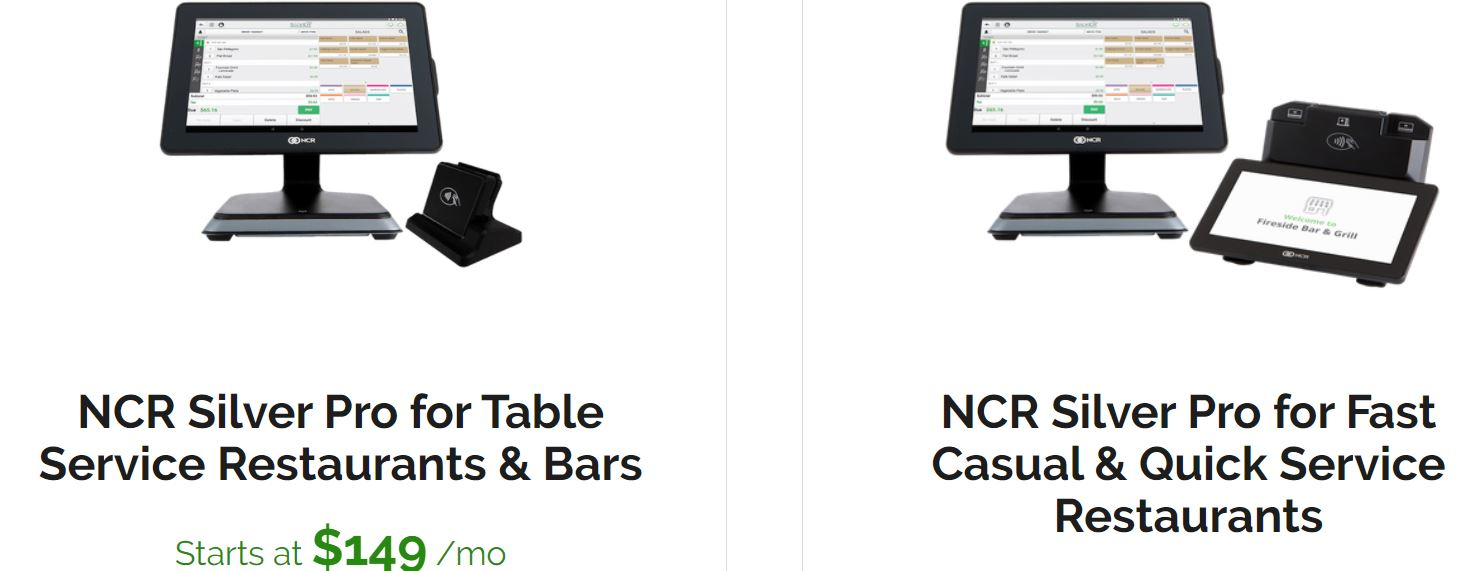 NCR Silver POS systems for restaurants and QSRs pricing
