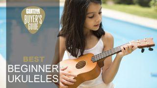 Little girl playing a beginner ukulele