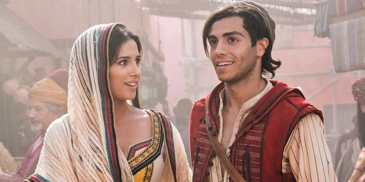 Naomi Scott and Mena Massoud in 2019's Aladdin