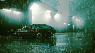 Cyberpunk 2077 car in rain photo mode