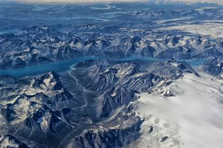 Greenland view from airplane