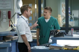 Dylan points his finger at Ethan in warning in Casualty