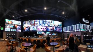 The new DraftKings Sportsbook at del Lago, a 6,000-square-foot space offering sports fans an innovative, high-tech sports betting experience, features LED video walls driven by an Analog Way Aquilon C+ processor.