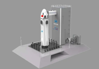 An artist's illustration of the Chinese company CAS Space's planned suborbital rocket for space tourism.