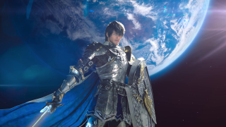 The Warrior of Light stands on the moon, in front of the Earth.