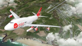 Virgin Orbit's Boeing 747 Cosmic Girl above the coast of Cornwall as envisioned by an artist.