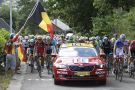 The peloton is neutralised on stage three of the 2015 Tour de France