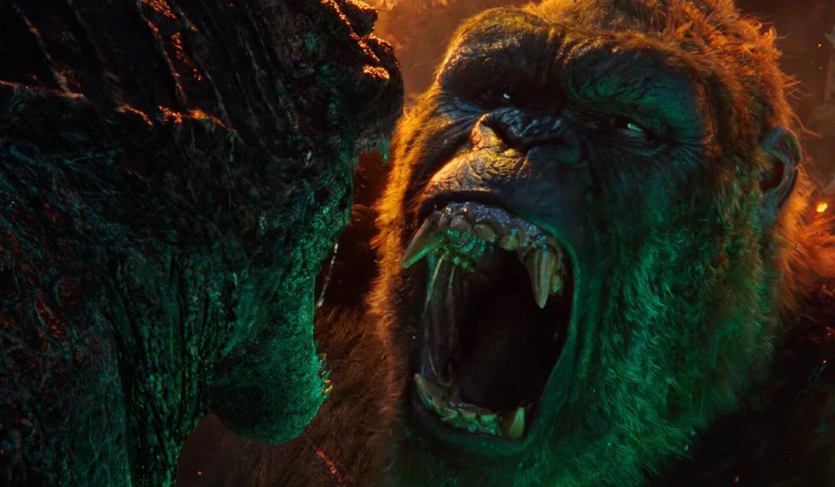 Kong shouting at Godzilla as he's pinned down in Godzilla vs. Kong.