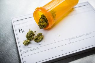 A prescription pad, and marijuana