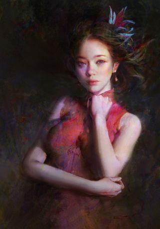 Digital painting portrait of a lady
