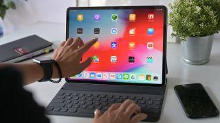 An iPad Pro with Magic Keyboard in use