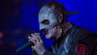 A picture of Slipknot frontman Corey Taylor performing live