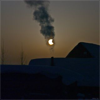 Chimney Smoke Solar Eclipse