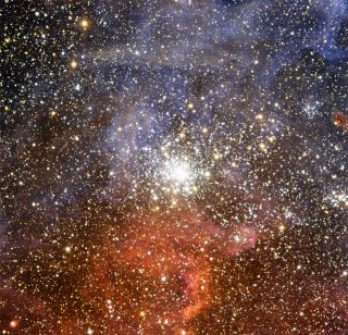 The bright star cluster NGC 2100 against the backdrop of the Tarantula Nebula.