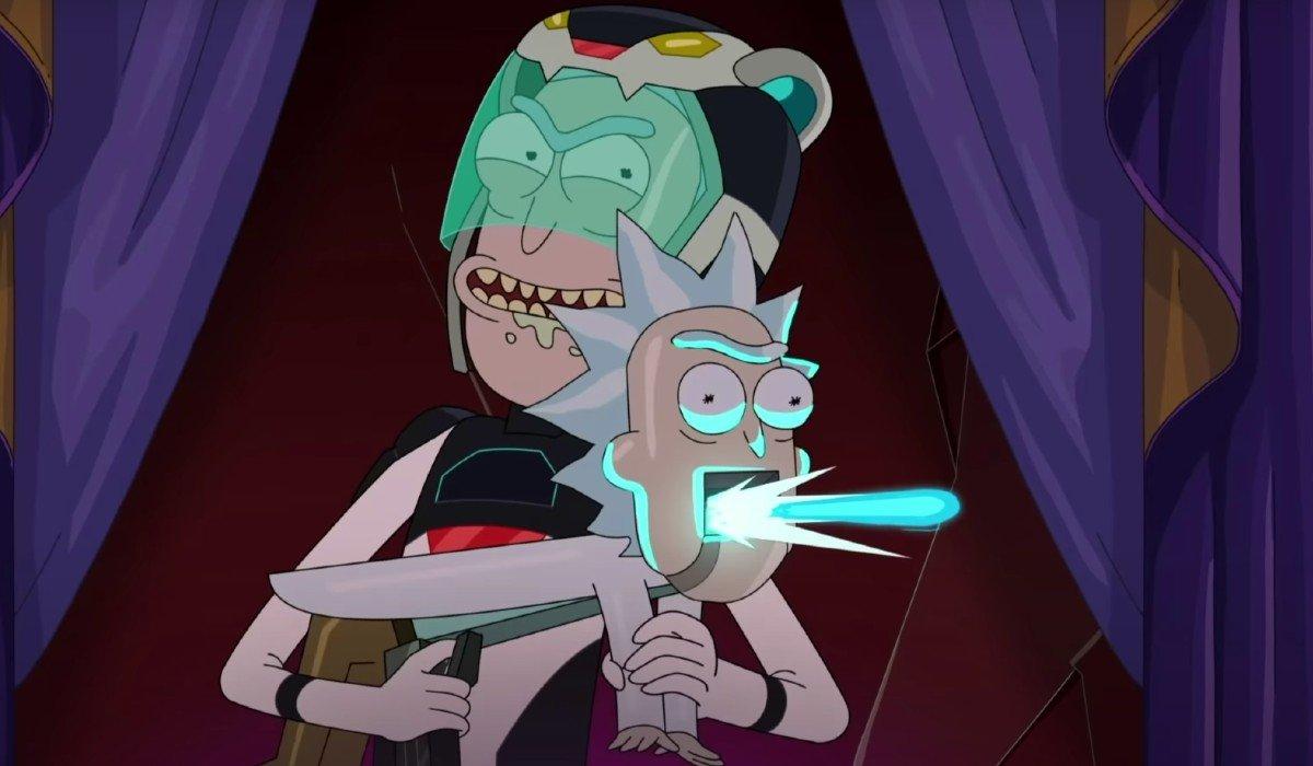 Rick firing a Rick Gun Rick and Morty