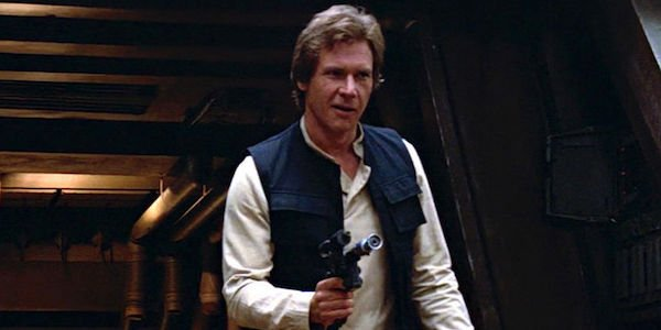 Han Solo in Return of the Jedi pointing blaster