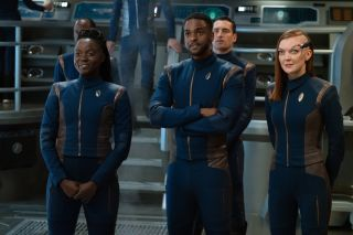 "Oyin Oladejo as Lt. Joann Owosekun, Ronnie Rowe Jr. as Lt. Bryce and Emily Coutts as Lt. Keyla Detmer in Season 3 of ""Star Trek: Discovery."""