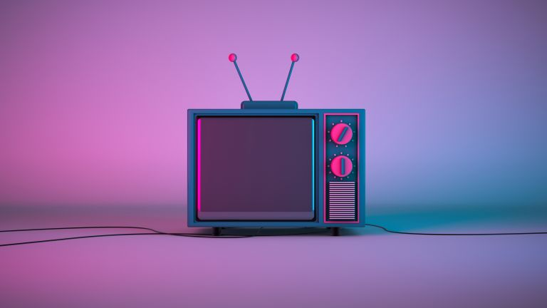 Pop art image of a TV in pink and blue