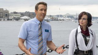 Ryan Reynolds and Jodie Comer give a pep talk on the water in Free Guy.