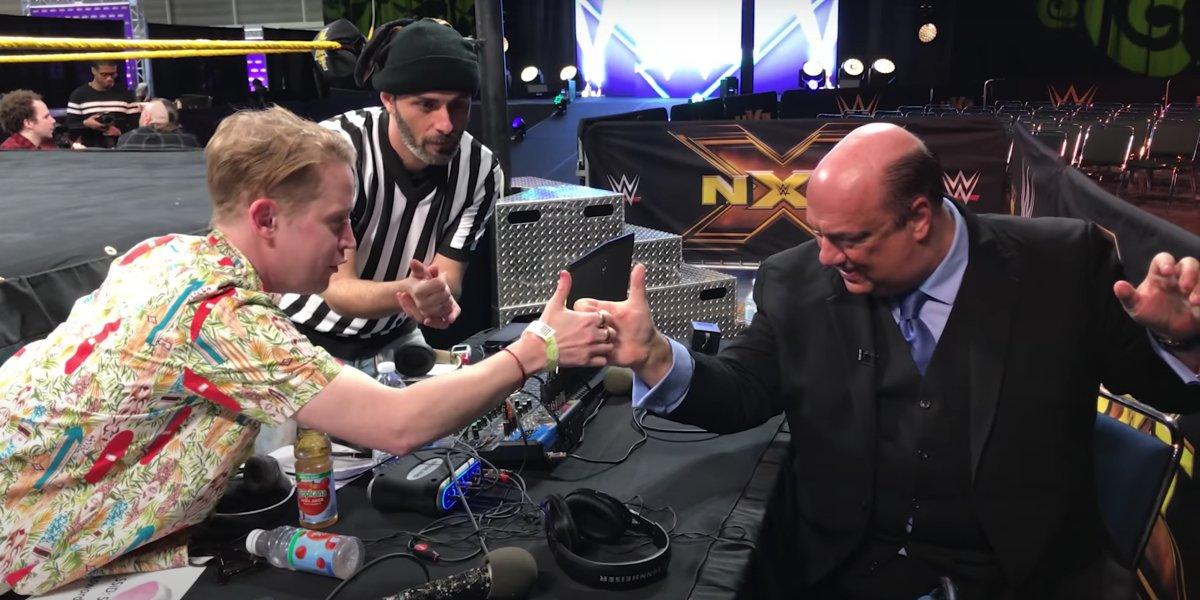 Macaulay Culkin and Paul Heyman at WrestleMania 34 Axxess