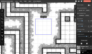 An image of a tabletop RPG dungeon map made with Dungeon Scrawl.