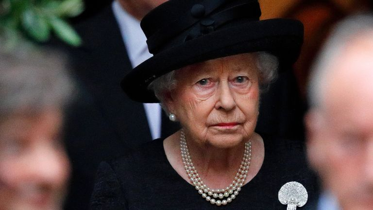 The Queen faces double heartache, Queen Elizabeth II (wearing the Courtauld Thomson Scallop-Shell Brooch, which belonged to Queen Elizabeth, The Queen Mother) attends the funeral of Patricia Knatchbull, Countess Mountbatten of Burma at St Paul's Church, Knightsbridge on June 27, 2017 in London, England